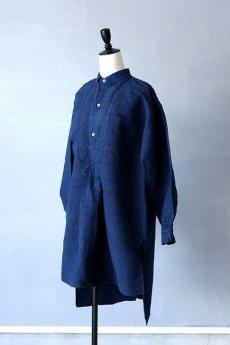 画像2: 【フランス】20世紀初頭のアンティークリネン×染め スモックロングシャツ(紺色) (2)