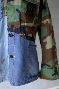 画像5: 【MITSUGU SASAKI】ビンテージリメイク フレンチワーク+US迷彩 パッチワークシャツ (5)
