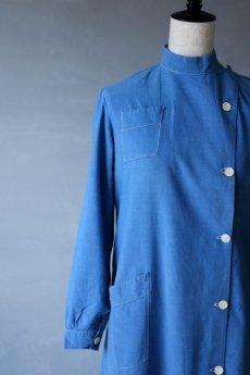 画像4: 【フランス】1950年代頃のブルーコットン メディカルワークドレス (4)