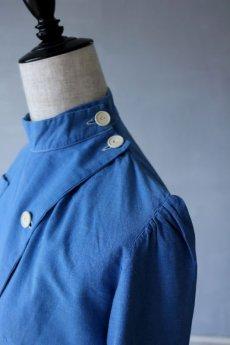 画像5: 【フランス】1950年代頃のブルーコットン メディカルワークドレス (5)