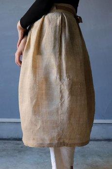 画像6: 【ササキチホ】古布の麻 バレル巻きスカート (6)