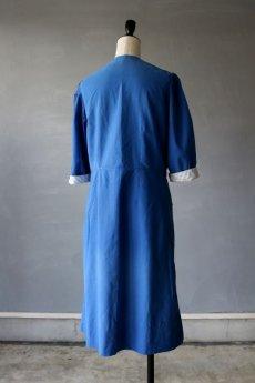 画像9: 【フランス】1950年代頃のブルーコットンワークドレス (9)