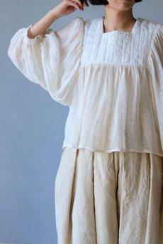 画像2: 【ササキチホ】古布 蚊帳のフォークロアブラウス (2)