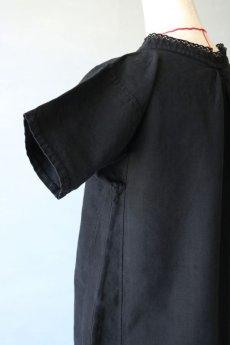画像7: 【フランス】アンティークリネン×染 ヘンリーネック半袖ワンピース(ブラック) (7)