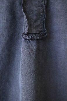 画像5: 【フランス】アンティークリネン×染 ヘンリーネック半袖ワンピース(ブラック) (5)