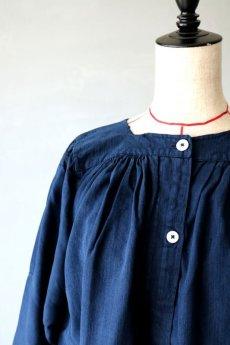 画像3: 【フランス】アンティークリネン×染 ヘンリーネック長袖ワンピース(紺色) (3)