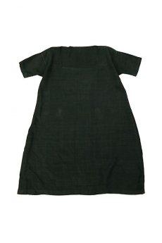 画像1: 【フランス】アンティークリネン×染 スクエアネック半袖ワンピース(ブラック) (1)
