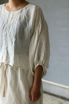 画像4: 【ササキチホ】麻古布 バルーン袖ブラウス+巻きスカート (4)
