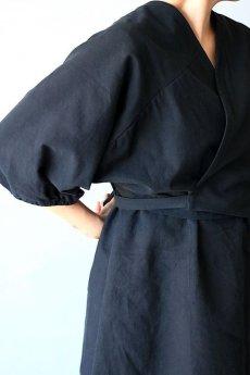 画像2: 【ササキチホ】アンティークコットン×染め アドスリーブス(5分袖 / 黒) (2)