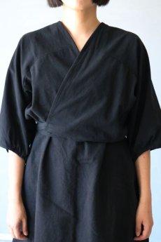 画像4: 【ササキチホ】アンティークコットン×染め アドスリーブス(5分袖 / 黒) (4)
