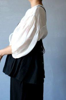 画像3: 【ササキチホ】アンティークリネン×染 背クロス+リボンキャミソール(黒/ショート丈) (3)