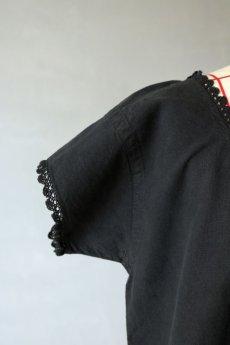 画像3: 【フランス】アンティークリネン×染 ショートスリーブ ワンピース(黒色) (3)