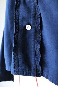 画像5: 【フランス】アンティークコットン×染め 裏起毛クラシックブラウス(紺) (5)