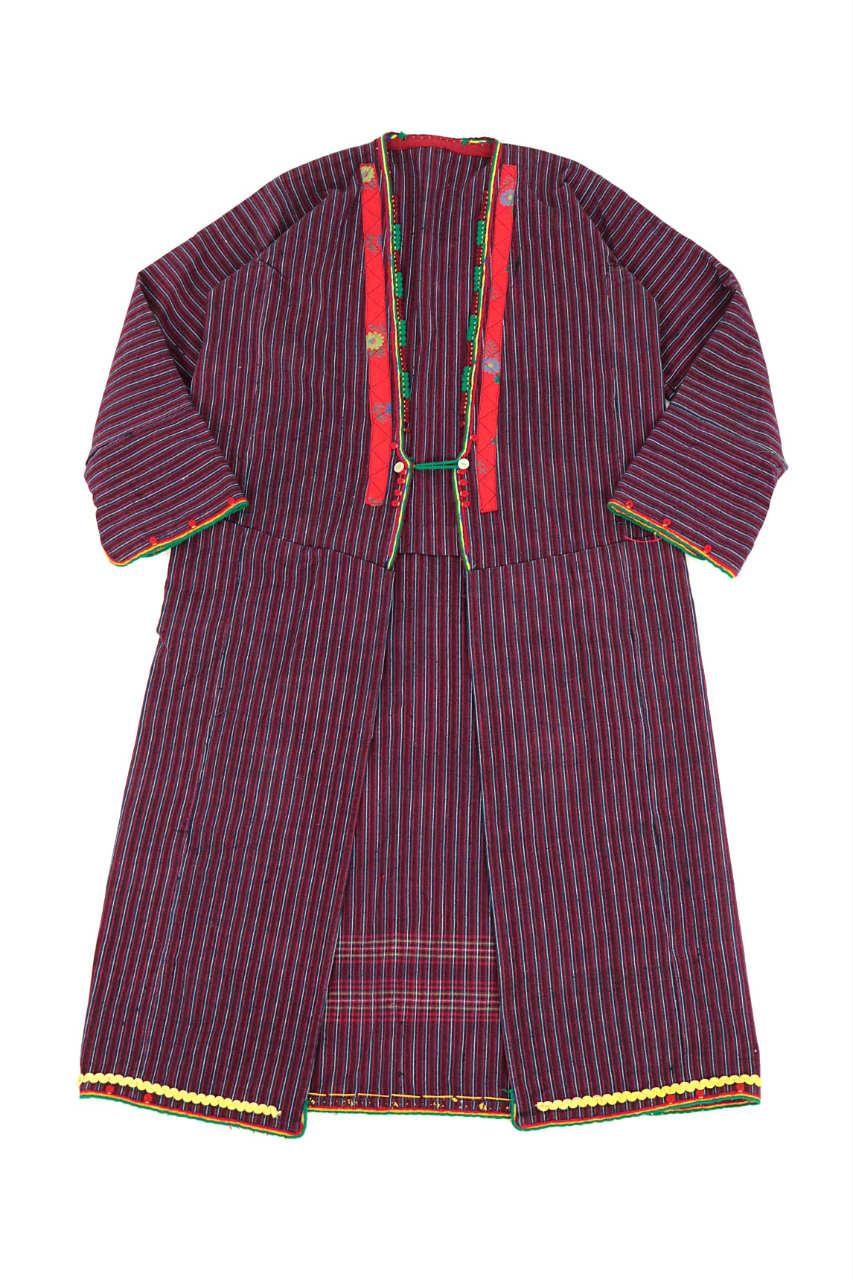 画像1: 【ブルガリア】アンティーク 伝統民族衣装のコート(エンジのストライプ) (1)