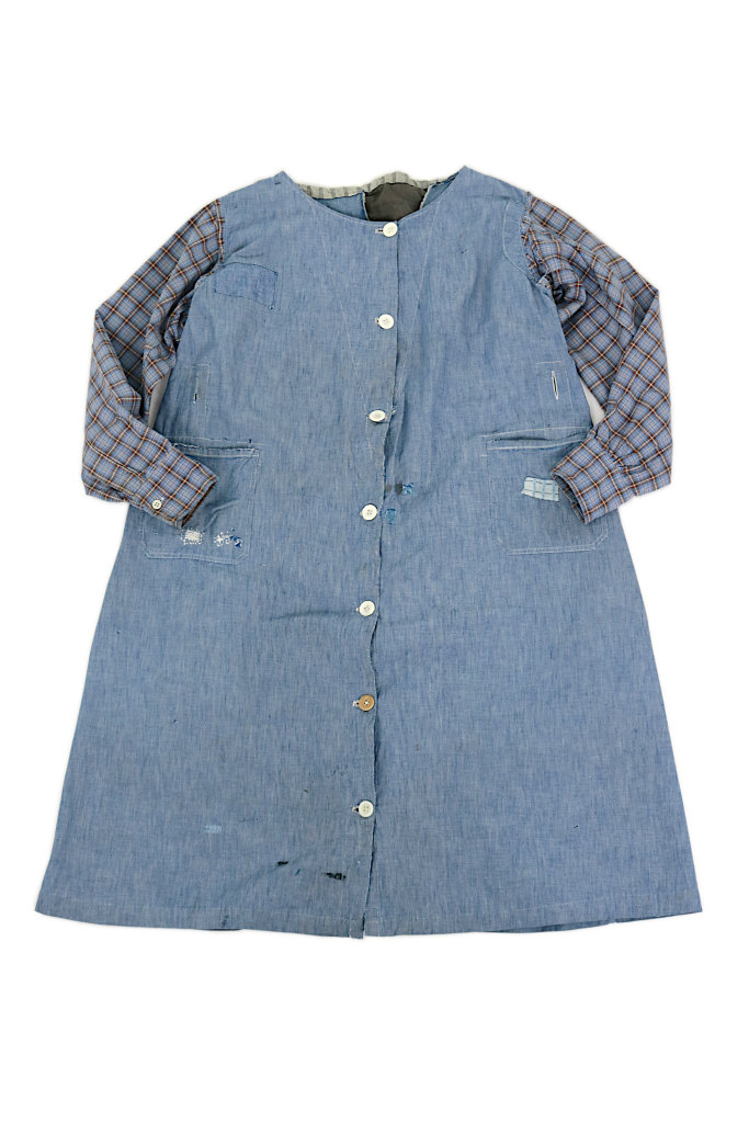 画像1: 【MITSUGU SASAKI】1950年代頃 パッチワークシャンブレー ワークドレス(水色とチェック) (1)