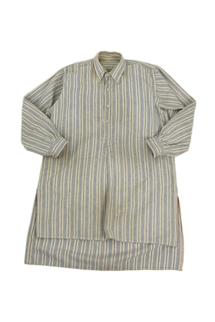 画像1: 【フランス】1940年代頃 プルオーバーストライプロングシャツ(白とブルー) (1)