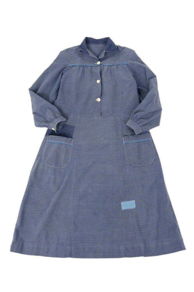 画像1: 【フランス】1950年代頃  チェック柄 ワークドレス(ブルー) (1)