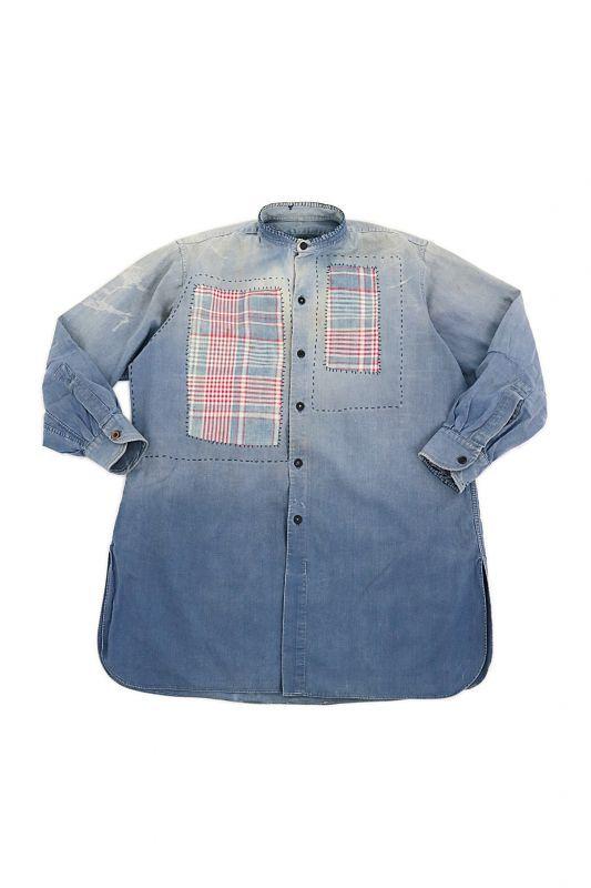 画像1: 【MITSUGU SASAKI】ビンテージリメイク パッチワーク フレンチワークシャツ  (1)