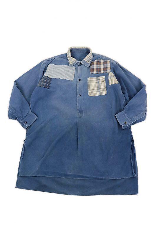 画像1: 【MITSUGU SASAKI】ビンテージリメイク チェックパッチワーク フレンチワークシャツ  (1)