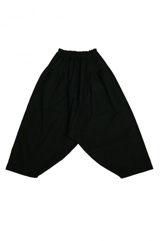 画像1: 【受注販売】アンティークリネン サイドギャザー ボリュームサルエルパンツ(黒色) (1)
