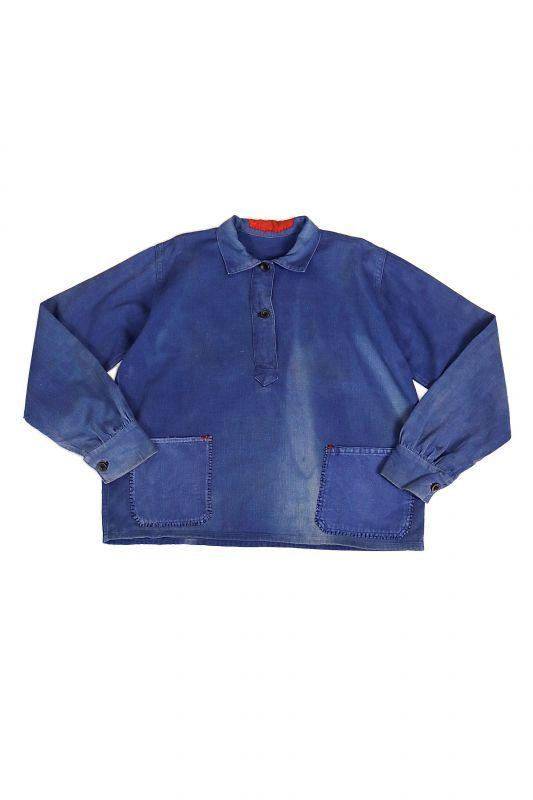 画像1: 【MITSUGU SASAKI】ビンテージリメイク パッチポケット フレンチワークシャツ (1)