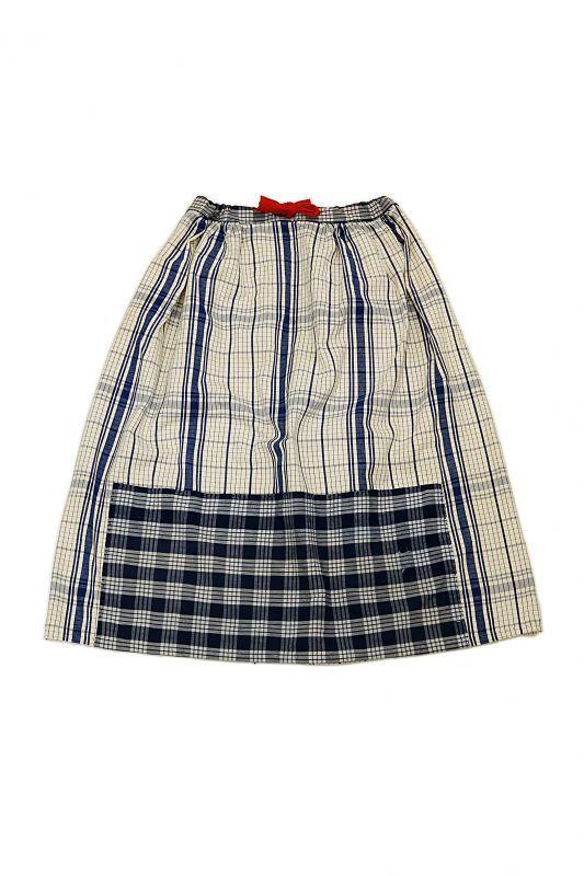 画像1: 【MITSUGU SASAKI】農婦シリーズ フレンチアンティークブルーチェックリネン ロングスカート(赤ひも ) (1)