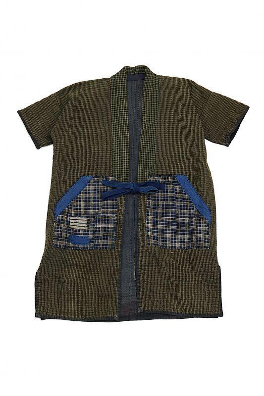 画像1: 【MITSUGU SASAKI】古布 刺し子 野良着コート(小さめ) (1)