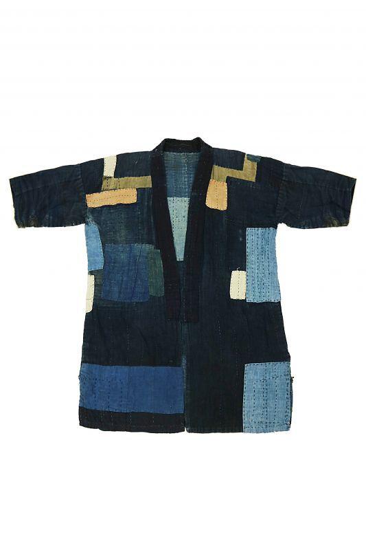 画像1: 【MITSUGU SASAKI】藍染古布 刺し子リペアのリバーシブル野良着 (1)