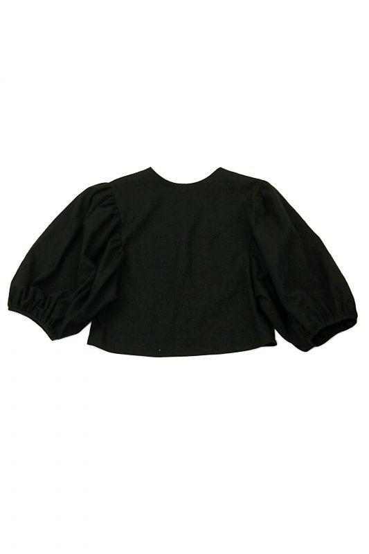 画像1: 【ササキチホ】アンティークリネン×染 ボリューム袖 背中ボタンブラウス(黒) (1)