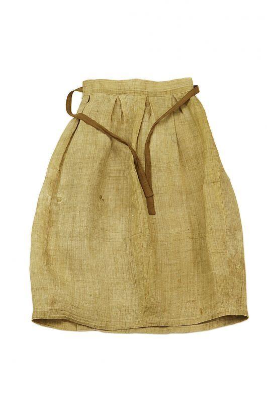 画像1: 【ササキチホ】古布の麻 バレル巻きスカート (1)