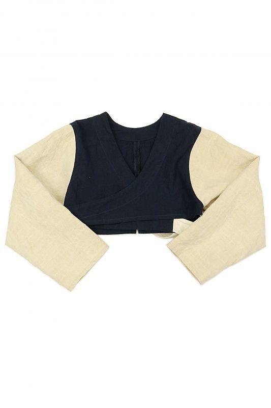 画像1: 【ササキチホ】アンティークリネン×染め 短上衣(生成りと紺) (1)