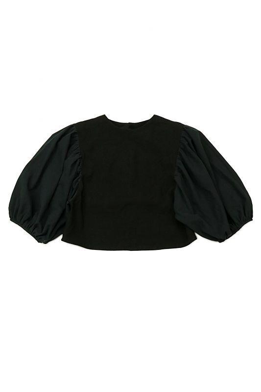 画像1: 【ササキチホ】アンティークリネン×染 ボリューム袖 背中ボタンブラウス(黒2トーン) (1)