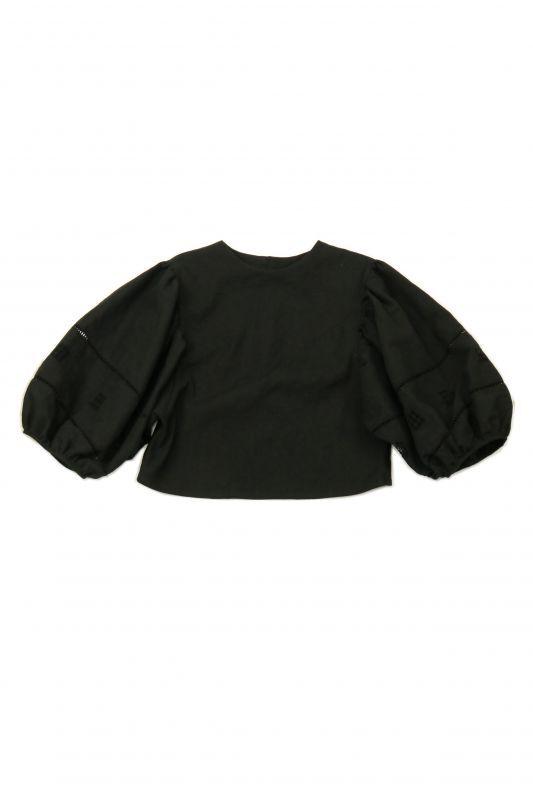 画像1: 【ササキチホ】アンティークリネン×染 ボリュームレース袖 背中ボタンブラウス(黒) (1)