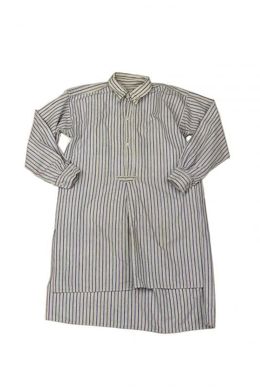 画像1: 【フランス】1950年代頃 プルオーバーストライプロングシャツ(白とブルーと紫) (1)