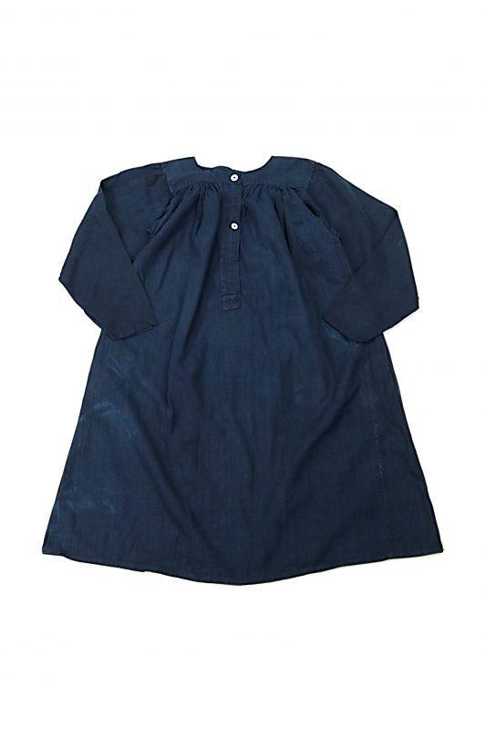 画像1: 【フランス】アンティークリネン×染 ヘンリーネック長袖ワンピース(紺色) (1)
