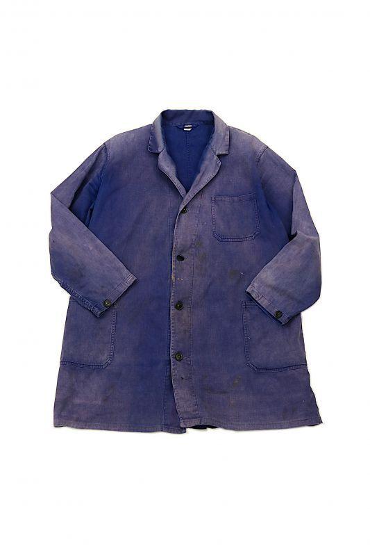 画像1: 【ベトナム】1960年代 色落ちした茄子紺のワークコート(ハノイ製) (1)