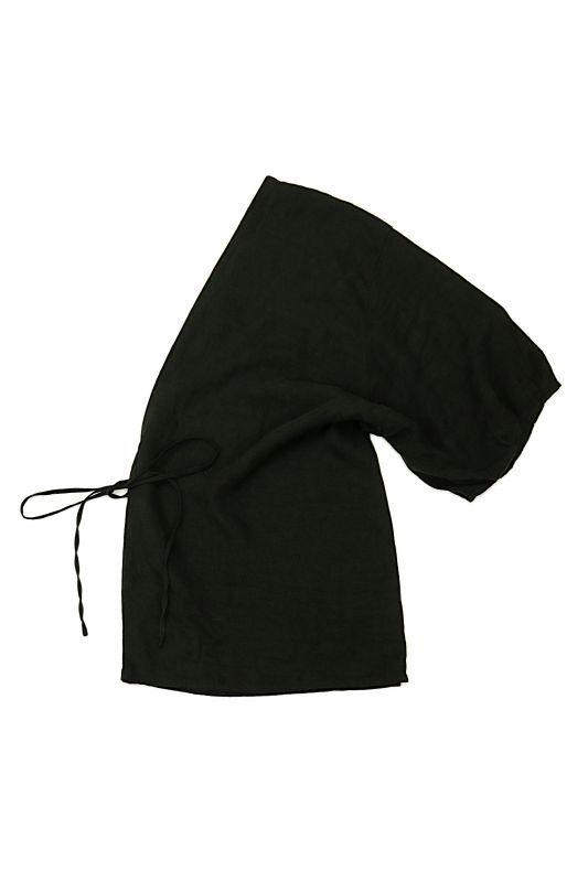 画像1: 【ササキチホ】アンティークリネン×染 半身ブラウス(ロング丈/ブラック) (1)