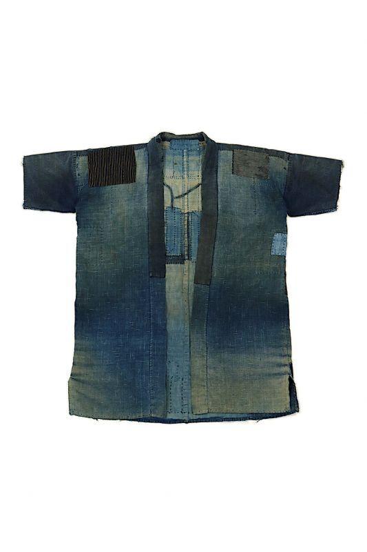画像1: 【MITSUGU SASAKI】藍染古布 刺し子リペアのリバーシブル野良着(半袖/小さめ) (1)