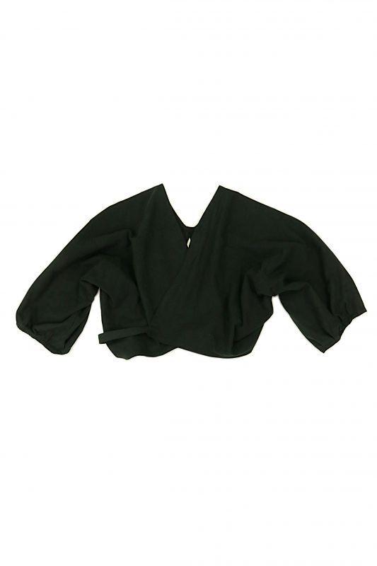 画像1: 【ササキチホ】アンティークコットン×染め アドスリーブス(5分袖 / 黒) (1)