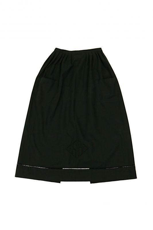 画像1: 【ササキチホ】アンティークリネン×染 ワークエプロン(黒/SB/ポケット) (1)