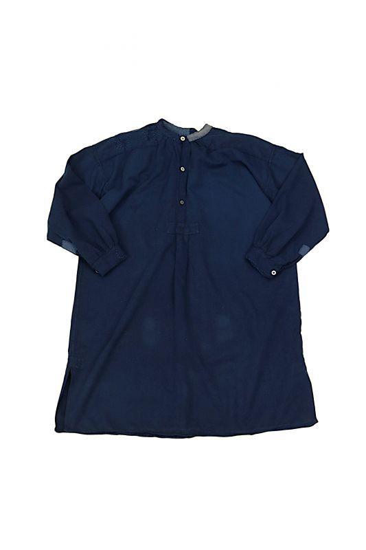画像1: 【MITSUGU SASAKI】ビンテージ裏起毛コットン×染め×古布 パッチワークスモックシャツ (紺染め) (1)