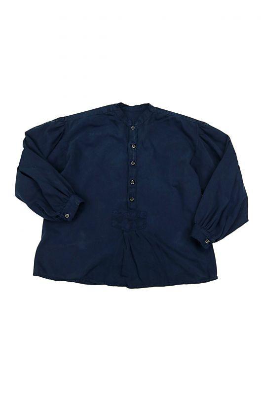 画像1: 【オーストリア】ビンテージコットン×染め プルオーバーチロルシャツ(紺) (1)