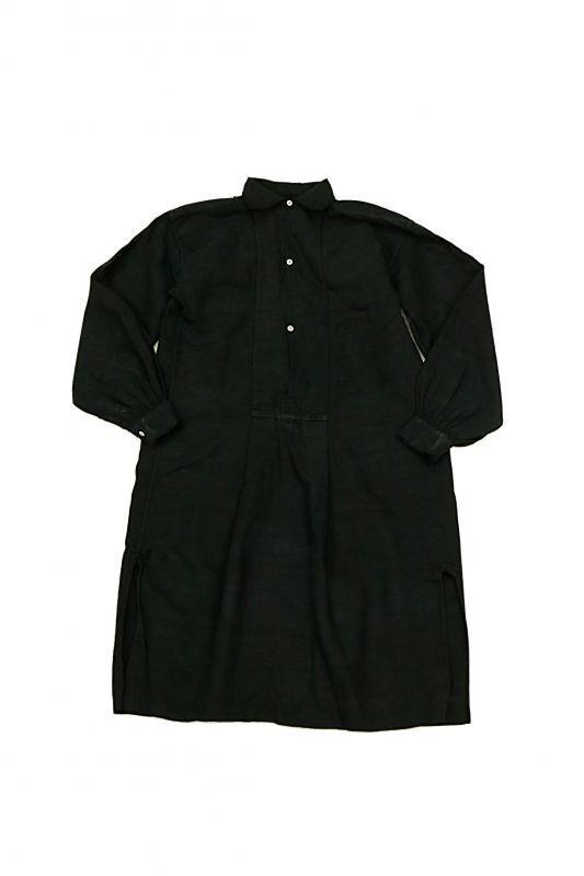 画像1: 【フランス】アンティークリネン×染め スモックロングシャツ(黒色) (1)