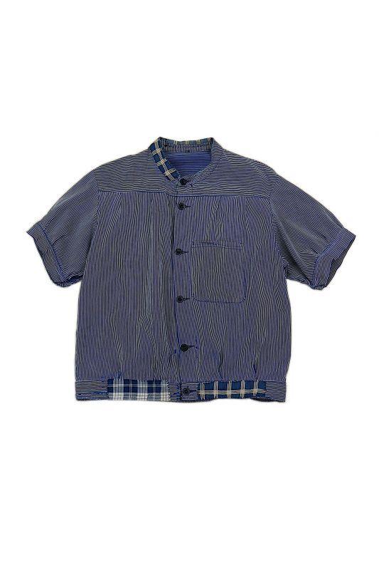 画像1: 【MITSUGU SASAKI】ビンテージリメイク パッチワーク ファーマーズワークシャツ (1)