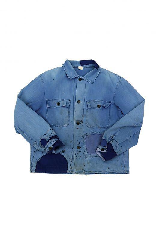 画像1: 【MITSUGU SASAKI】ビンテージリメイク 袖口パッチワークリペア ワークシャツ (1)