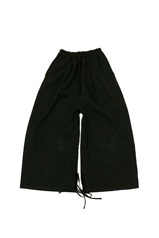 画像1: 【ササキチホ】アンティークリネン×染 裾紐 ワイドパンツ(黒) (1)